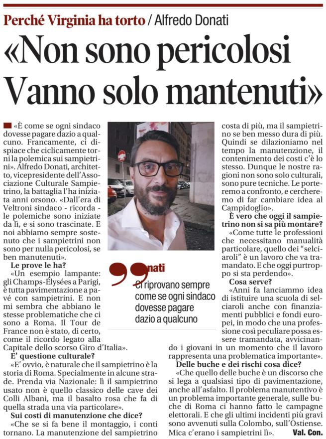 Alfredo Donati «I sampietrini vanno solo mantenuti» - Il Tempo 29 giugno 2018