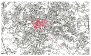 Extension of Sampietrini pavements (in red) within the urban road network of Rome.